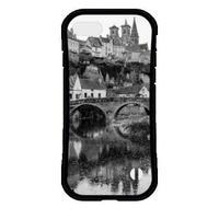 フランスの美しい村モノクロ 耐衝撃グリップスマホケース【iPhone Max,Plus系】