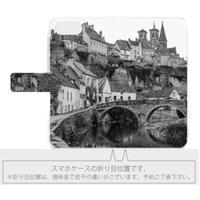 フランスの美しい村モノクロ 手帳型スマホケース【Android用】