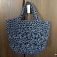 Tシャツヤーンで編む中長編みの玉編みトート