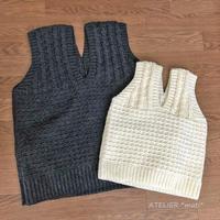 【編み図】かぎ針編みの縄編みと地模様のベスト・2サイズ(ダウンロード版)