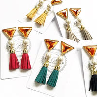 Amber Triangle × Tassel Earring