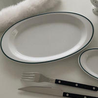 Green oval plate (L)