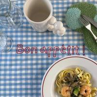 Bon appétit check kitchen cloth   blue