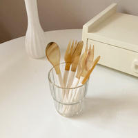 white natural horn cutlery
