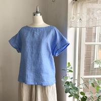 クロスTシャツ半袖 リネン ウインドペンチェックブルー