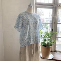 クラウドシャツ半袖コットン ローン花プリントロイヤルブルー