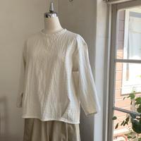 クラウドシャツ7分袖   コットン 刺子風キナリ