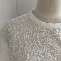 クラウドシャツ半袖コットン  しゅうオフホワイト 水玉