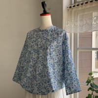クラウドシャツ6分袖   コットン 花プリント        ブルー