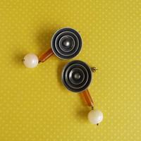 フランス樹脂ボタンピアス・イヤリングp-2417