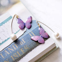 Light Purple Butterfly Hook Earrings with Pearl [Pierced]