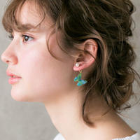 Blue-green Butterfly Earrings With Pearl [Pierced or Clip-on]