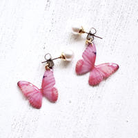 Light Pink Butterfly Earrings With Pearl [Pierced or Clip-on]