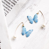 Sky Blue Butterfly Hook Earrings with Pearl [Pierced]