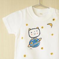 手描きTシャツ(キッズ)名入れ可  〈ネオ宇宙〉
