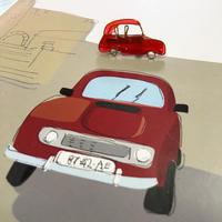 ルノー  キャトル 赤 イメージのブローチ