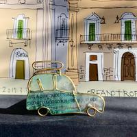 ルーフキャリア付きルノー 4緑 イメージのブローチ