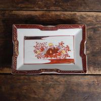 antiques  大正 九谷  色絵 金彩 花文 形皿