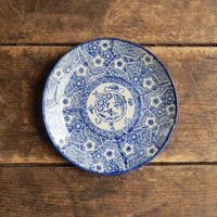 antiques  明治 印判 花文 5.5寸皿