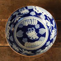 antiques  時代物 伊万里 染付 口紅 花文 8寸鉢
