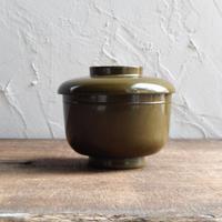 antiques 明治 輪島塗 蓋付椀(緑)