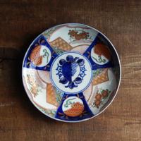 antiques  幕末 伊万里 金彩色絵皿 桃文 6寸皿