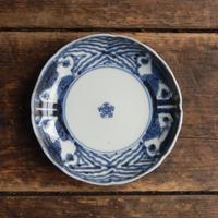 antiques  幕末 伊万里 染付 五弁花 4.2寸皿