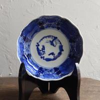antiques  幕末 伊万里 染付 花文 5寸皿