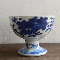 antiques  江戸時代 伊万里 花文 染付 盃洗