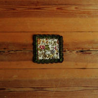 antiques 花柄のミニタペストリー(緑)