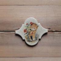 antiques  猫が描かれたタイル