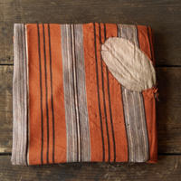 antiques 木綿 橙 縦縞 ツギハギ古布(Boro)