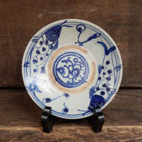 antiques  安南焼 染付 魚文 4.6寸皿 three