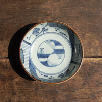 antiques  江戸時代 渦福銘 伊万里 染付 花文 4.6寸皿