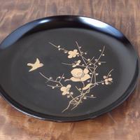 古民藝 時代物 漆器 蒔絵 福良雀 梅 5寸皿 20th c