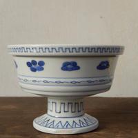 antiques  江戸時代 古伊万里 花文 染付 盃洗  箱付