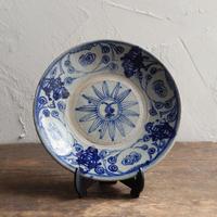 antiques  安南焼 染付 4.6寸皿 four