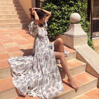 【Sea of Rose】Maxi Dress- Flower Print