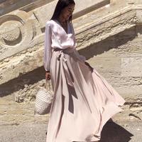 【Sea of Rose】Silky Wrap Skirt - Pink Beige