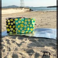 レモン Lemonレジャーシートで作った ハンドメイドエコバッグ レジャーバック 折りたたみ 買い物袋  大容量 トートバッグ型エコバック 折りたたみ :EB200608