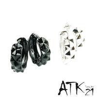 両耳用(Lサイズ2点セット)ダイヤモンドカッティング フープピアス シンプル ブラック シルバー メンズ レディース ユニセックス アクセサリー:HPB170801L