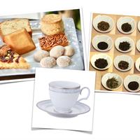 洋菓子トリートBOX+カップセット(厳選茶葉11種とミルグレイの洋菓子+ハンプシャープラチナ)