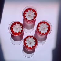 全国発送はこちらから 花のカタチのゼリー箱 赤4個セット