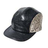 坩堝 RUTSUBO SNAKE 5 PANEL CAP (BLACK/SNAKE)