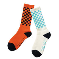 坩堝RUTSUBO CHECKER SOCKS (WHITE/SKY, BLACK/ORANGE)