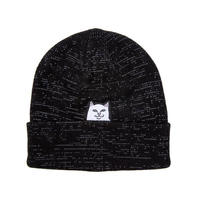 RIPNDIP LORD NERMAL RIBBED BEANIE (BLACK REFLECTIVE YARN, BLACK, HEATHER MULTI)
