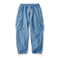 INTERBREED WASHED DENIM RELAX CARGO TROUSER (INDIGO)