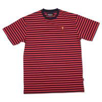PIZZA Emoji Striped Tee (Red/Navy)