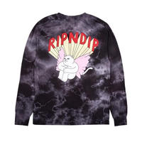 RIPNDIP NERM ANGEL L/S (BLACK LIGHTNING WASH)