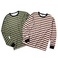 坩堝 RUTSUBO 90s BORADER LS T-SHIRTS (GREEN, WHITE)